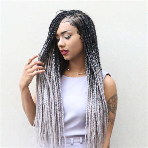 grey hair braid extensions catface hair black grey ombre jumbo braiding hair