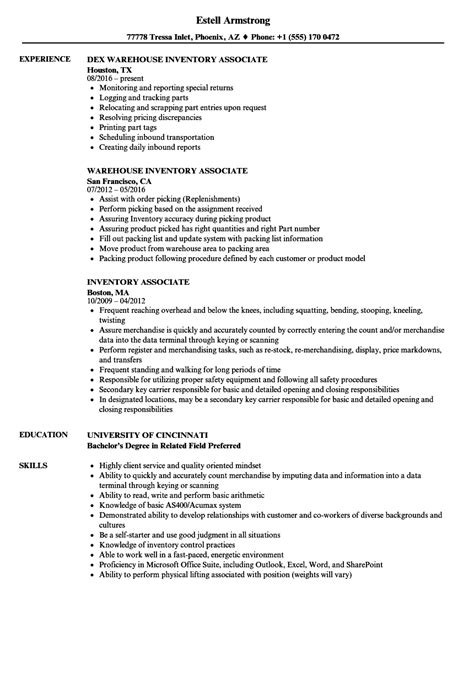 Inventory Resume by Inventory Associate Resume Sles Velvet