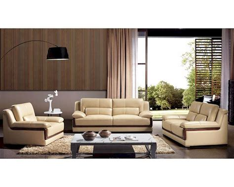 Set Sofa Modern Modern Khaki Leather Sofa Set 44l6042