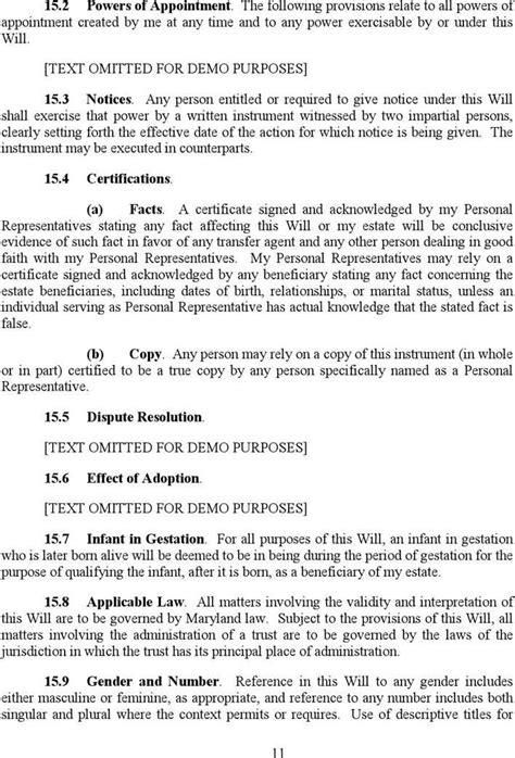 Maryland Will Template maryland last will and testament sle free