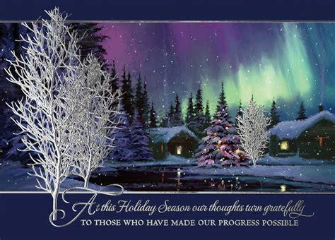 nature s tribute northern lights holiday card w b mason