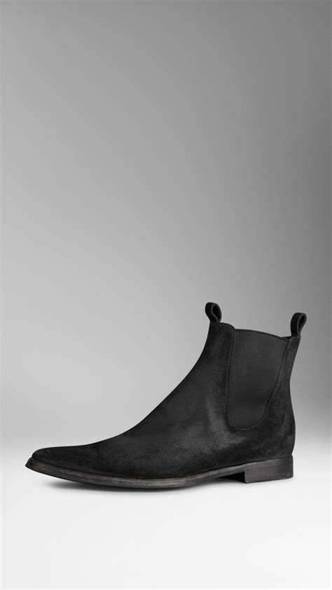 burberry suede chelsea boots in black for lyst