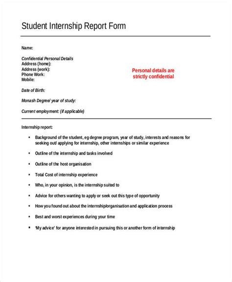 Internship Template by Internship Student Report Templates 11 Free Word Pdf