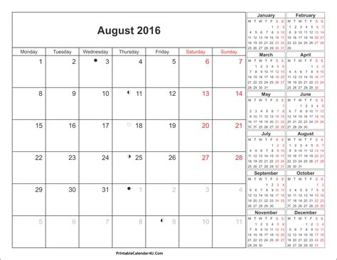 2016 Calendar August August 2016 Calendar Printable With Holidays Pdf And Jpg