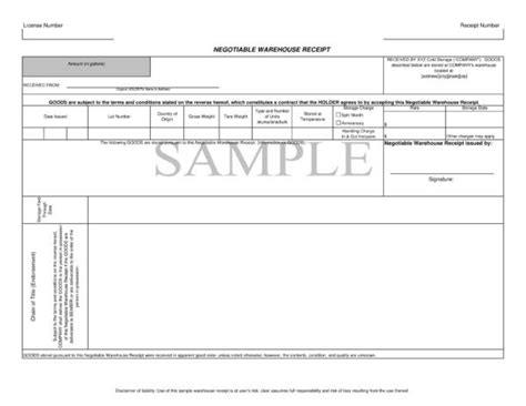 Warehouse Receipt Form Template by 10 Goods Receipt Templates Pdf Word Excel Sle