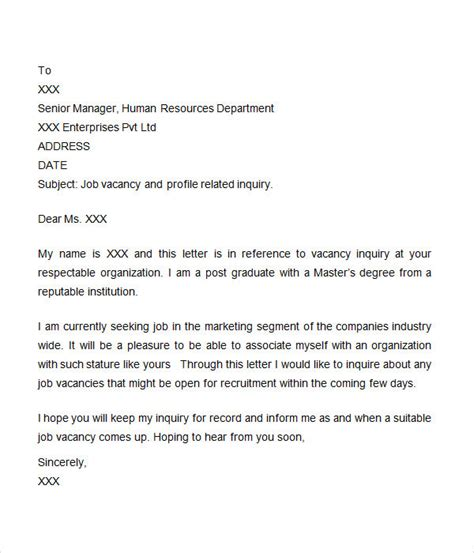 Letter Of Inquiry For Project Inquiry Letter 7 Free Doc