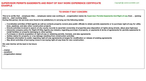 Petition Letter For Right Of Way Perm Np Work Experience Letters