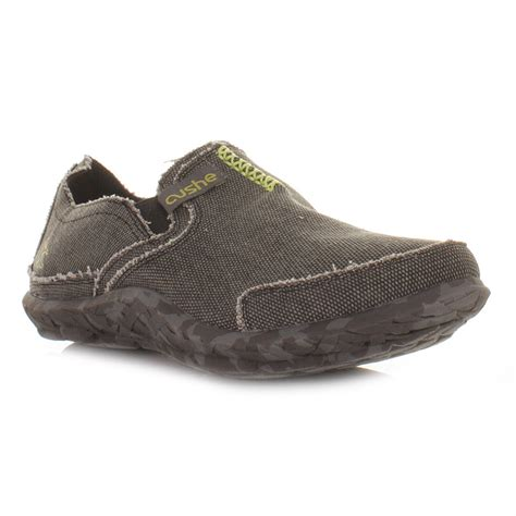 mens canvas slippers mens cushe black comfy canvas casual slip on shoes