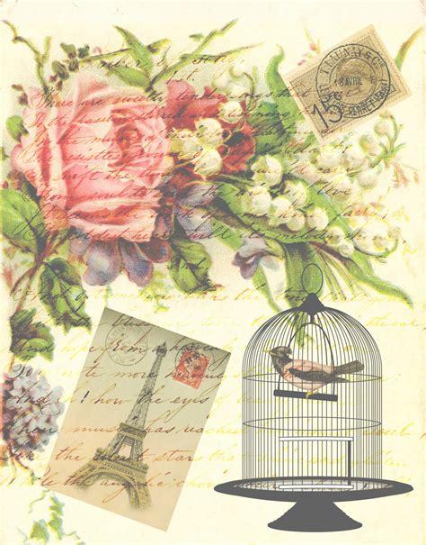 vintage images free vintage bird eiffel tower card free stock photo