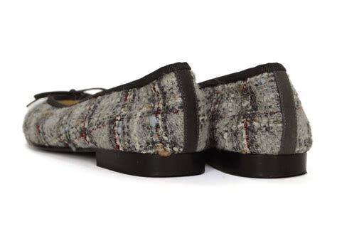 Chanel 3311 Canvas chanel light grey tweed ballet flats sz 36 5 for sale at 1stdibs