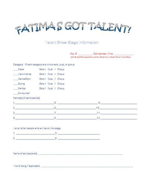 talent show registration form template sle registration form for talent show free