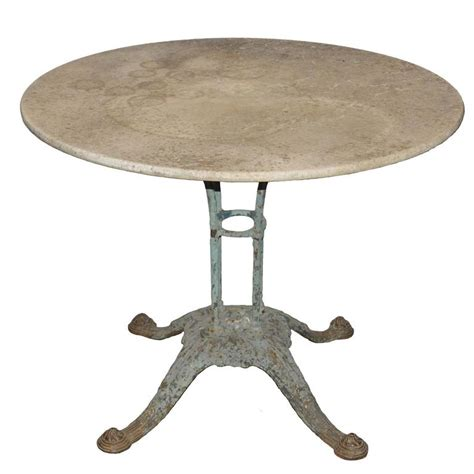 marble top bistro table with beautiful cast iron base at 1stdibs