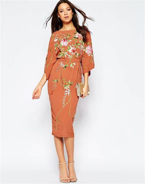 Dress Kimono lyst asos kimono midi dress with embroidery in