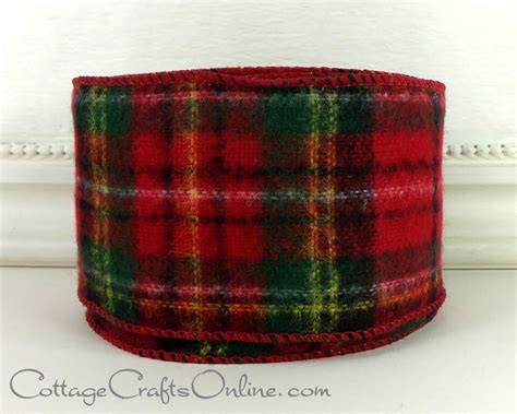 christmas wired ribbon 2 1 2 wide tartan plaid red and