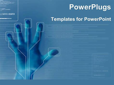 Powerpoint Template Technology For Finger Printing Identity Security On Blue Background 16688 Technology Templates
