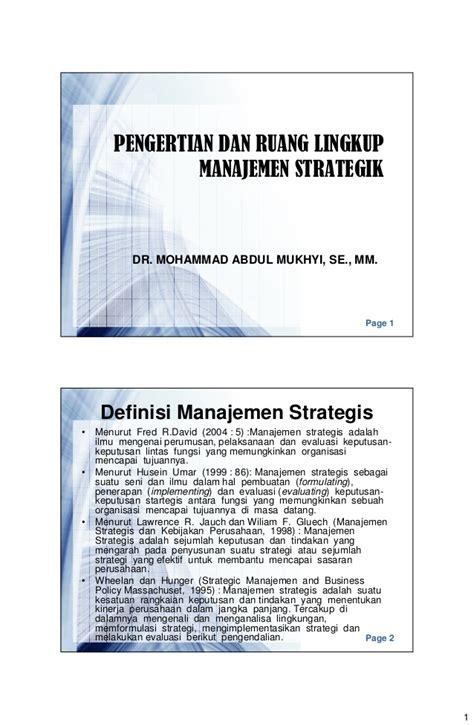 Kepemimpinan Budaya Organisasi Dan Manajemen Strategik pengertian dan ruang lingkup manajemen strategik