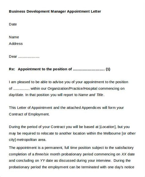 appointment letter format for business development manager official appointment letter templates 8 free word pdf