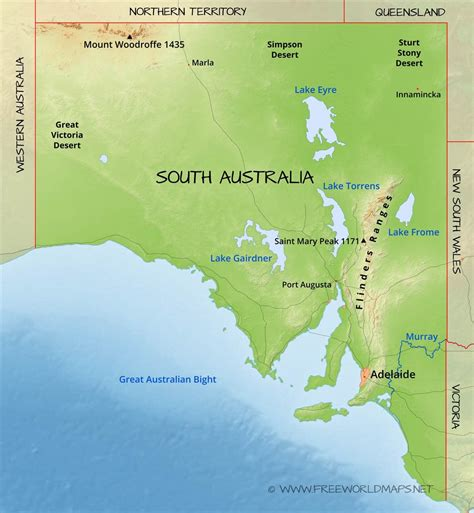 south australia map physical map of south australia australia
