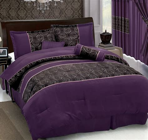 7pcs purple jacquard comforter set ebay