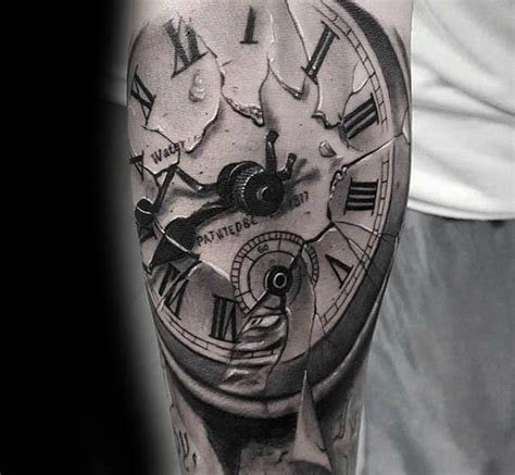 broken pocket watch tattoo 30 broken glass designs for shattered ink ideas