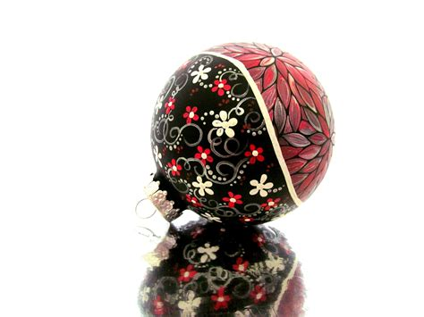 christmas ornament metallic red ornament hand painted