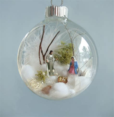 holy family baby jesus nativity winter scene glass ornament