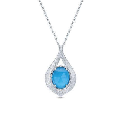 gabriel co souviens collection silver turquoise necklace