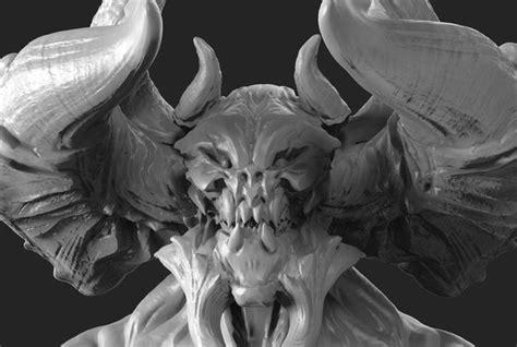 printable model demon bust tiamat cgtrader