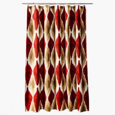 red and gold shower curtain threshold large ikat red gold brown fabric shower curtain