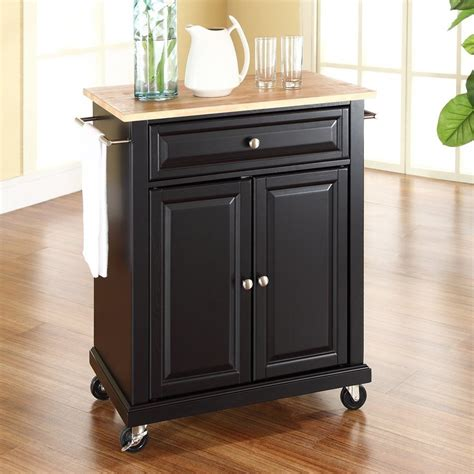 shop crosley furniture black craftsman kitchen cart at lowes