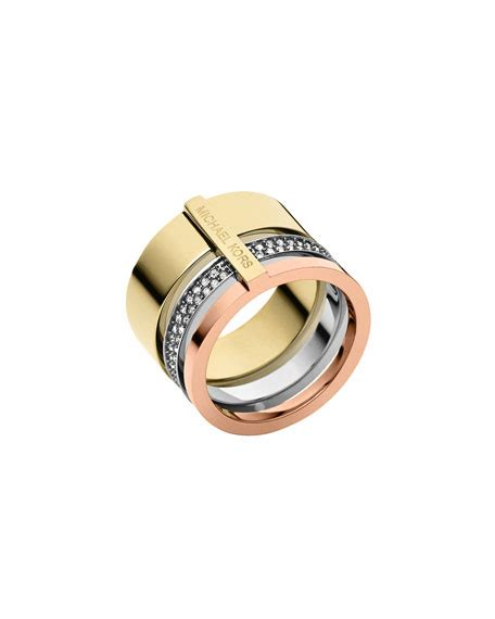 Hello Pave Ring From Neiman by Michael Kors Tricolor Pave Barrel Ring Neiman