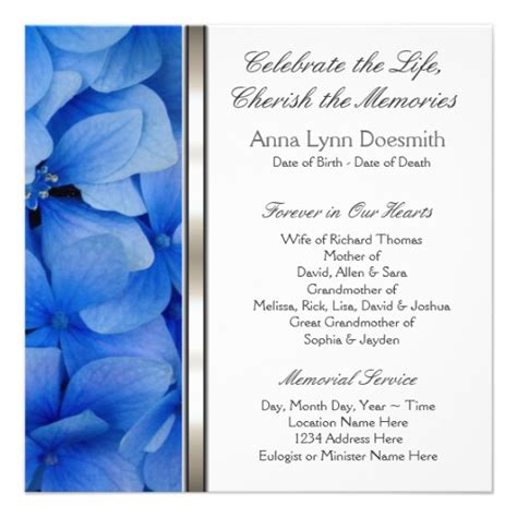 templates for funeral announcements blue hydrangea funeral announcements 5 25 quot square