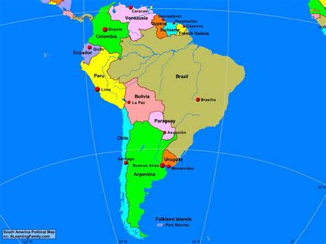 south america physical political map south america political map a learning family