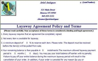 layaway contract template dealer gallery inventory and business management