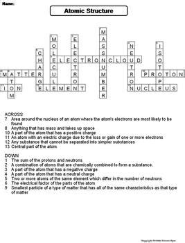 Atomic Structure Review Worksheet Answers by Atomic Structure Worksheet Crossword Puzzle By Science