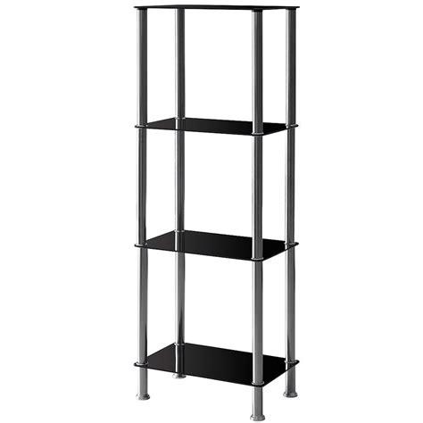 Modern Corner Shelf Unit by 4 Tier Glass Unit Shelf Black Silver Modern Corner Display