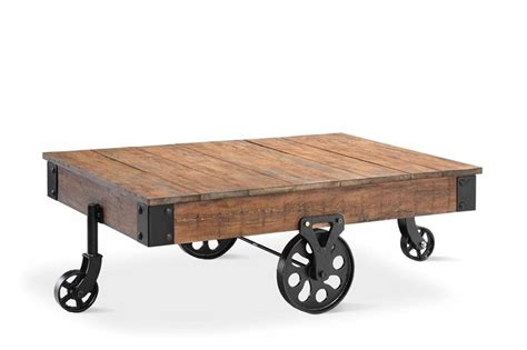 Cart Style Coffee Table Vintage Style Cart Coffee Table With Reclaimed Wood Finish Metal Corner Caps With Bolts And