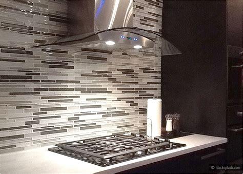 gray backsplash dark cabinets modern look gray white color glass brick backsplash tile