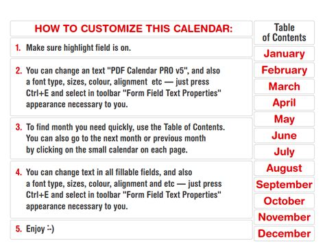 Calendar Labels 2016 Editable Pro Fillable Pdf Calendar Template