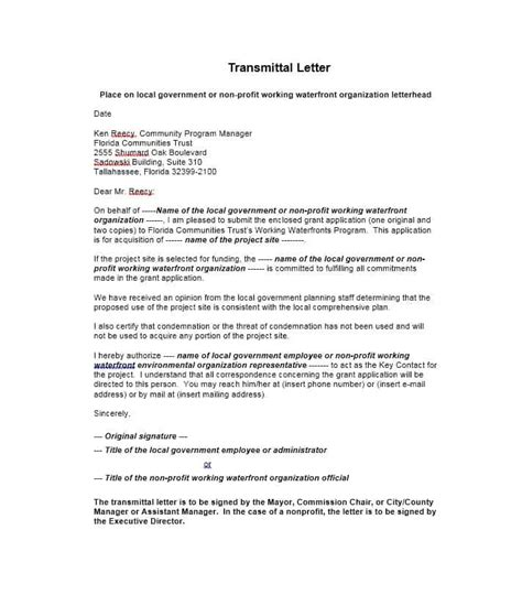 transmittal letter template pacq co