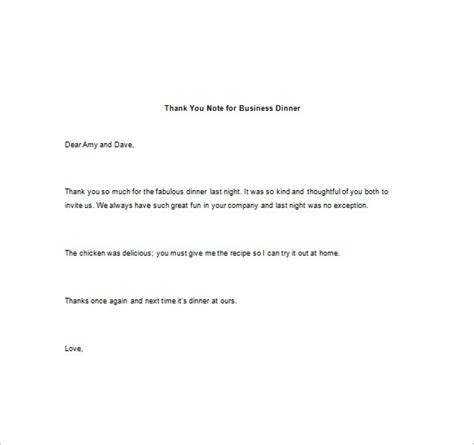 thank you letter after business dinner thank you note for dinner 8 free word excel pdf