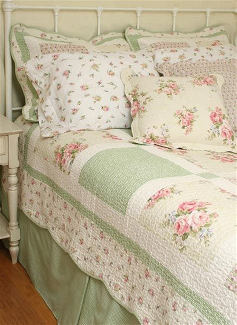 cottage style bedding 10pc spring pink roses chic n shabby queen quilt shams