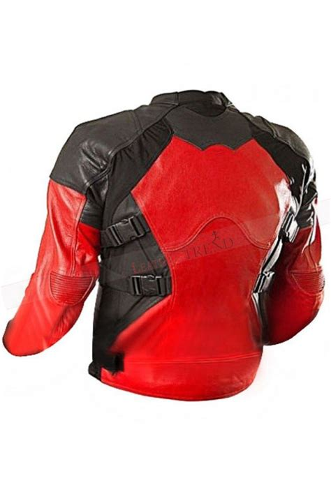 red and black motorcycle jacket deadpool red and black biker leather jacket