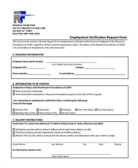 Sle Employment Verification Form 13 Free Documents In Pdf Employment Verification Request Form Template