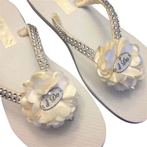 braut flip flops bridal flip flops ivory wedding flip flops i do flip