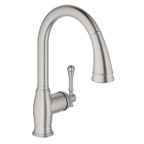 pull spray kitchen faucet grohe bridgeford single handle pull sprayer kitchen faucet in supersteel infinityfinish