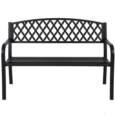 steel frame bench bcp 50 quot patio garden bench park yard outdoor furniture