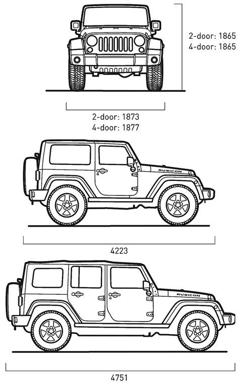 Jeep Wrangler Width Car Blueprints Jeep Wrangler Blueprints Vector Drawings