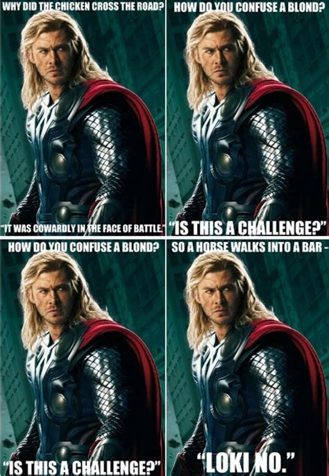 thor movie jokes what do you get when you cross anti joke chicken with thor