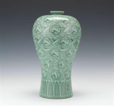 Celadon Vases Korea A Korean Porcelain Flying Cranes And Clouds Vase 11 01 14